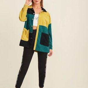Shein Colorblock Corduroy Oversized Shirt M